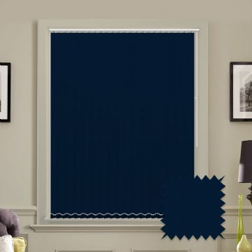Made to measure vertical blinds in Bermuda Navy Blue plain fabric